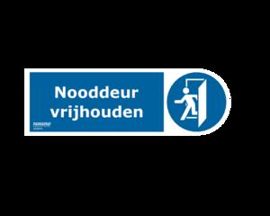 Sticker nooddeur - nooduitgang vrijhouden NEN 3011 conform NEN-EN-ISO 7010