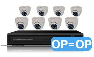 Camerabewakingssysteem acht kanaals, met 8 minidome camera's