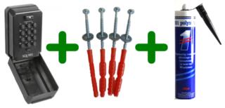 Squire Keykeep 2, Sleutelkluis met code + schroeven + Polymet kit, combi voordeel!