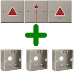 Mindervaliden (miva) alarm, roestvrij staal met 3 opbouwdozen - COMBI VOORDEEL