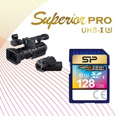 Silicon Power 128Gb SD Card, Superior Pro 4K SDHC-SDXC UHS-1 U3