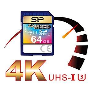 Silicon Power 64Gb SD Card, Superior Pro 4K SDHC-SDXC UHS-1 U3