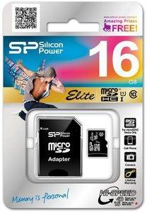 Silicon Power MicroSD card, Elite 16GBSP016GBSTHBU1V20SP